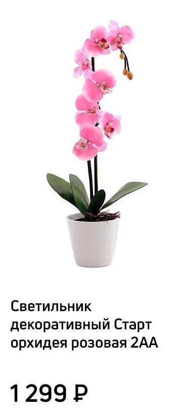 Светильник декоративный Старт орхидея розовая 2АА